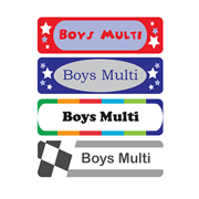 Personalised School Labels Boys Multi - Labels IRON-ONS 48 labels free shipping