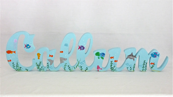 Scripted Name Plaque Wooden Letters for LARGE Fonts WITH A THEMED PAINTED PATTERN Starting from 3+ letters Themed Ocean Animals
