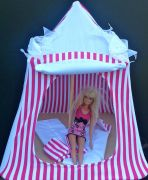 Kids Mini Play Tent Teepee - Hot Pink and White Stripes Design