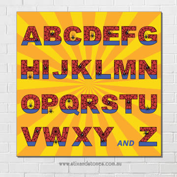 Stix and Stones Baby - Spiderman Alphabet canvas for kids wall art ...
