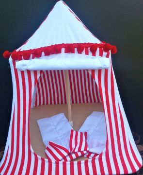Kids Mini Play Tent Teepee - Red and White Stripes Design & Stix and Stones Baby - Kids Mini Play Tent Teepee - Red and White ...