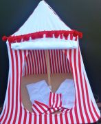 Kids Mini Play Tent Teepee - Red and White Stripes Design