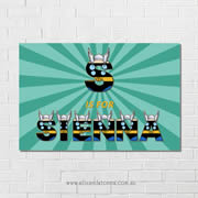 Thor Engine Personalised name plaque canvas for kids wall art - Rectangular with Background