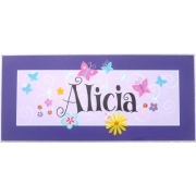 Personalised Name Plaque for kids wall or door Secret Garden - Purple