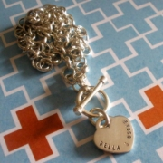 Amour Silver Stamped Necklace