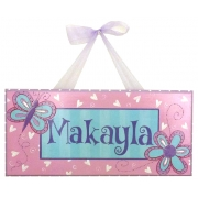 Name Plaque'Butterfly Aqua/Pink'