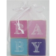 .Wooden BlocksPinks/Purple/Blue ColoursBABY (SMALL)