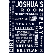 Room Name PlaqueWHAT BOYS ARE MADE OFBus / Tram ScrollPersonalised with your child's name(Available in over 30 colours)