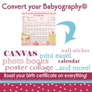 Convert your Babyography Birth Certificate into a calendar, photo book, keepsake box, mini-canvas, poster, sticker, canvas print etc... etc... Babyography� and Twinography� Products
