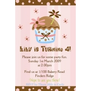 Cupcake Birthday Invitation 4 Personalised