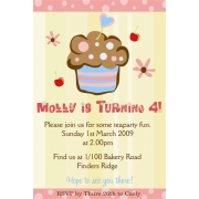 Cupcake Birthday Invitation 1 Personalised