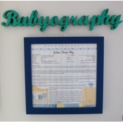 Babyography� Name Plate HangerAvailable in over 30 coloursGive your Babyography a headline!
