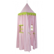 Kids Kastle / Play Tent - Pink with Lime Trim