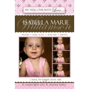 Christening Invitation 'Diamonds Pink'