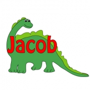Personalised ClothingDinosaur Green DesignAvailable in a t-shirt, bib, bodysuit, singlet, apron, santa sack, library bag & shoulder bag