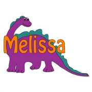 Personalised ClothingDinosaur Purple DesignAvailable in a t-shirt, bib, bodysuit, singlet, apron, santa sack, library bag & shoulder bag