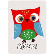 Personalised ClothingOwl Red DesignAvailable in a t-shirt, bib, bodysuit, singlet, apron, santa sack, library bag & shoulder bag
