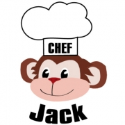 Personalised ClothingChef Monkey DesignAvailable in a t-shirt, bib, bodysuit, singlet, apron, santa sack, library bag & shoulder bag