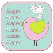 Personalised ClothingBird Pastel DesignAvailable in a t-shirt, bib, bodysuit, singlet, apron, santa sack, library bag & shoulder bag