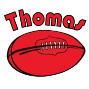 Personalised ClothingFootball (AFL) DesignAvailable in a t-shirt, bib, bodysuit, singlet, apron, santa sack, library bag & shoulder bag