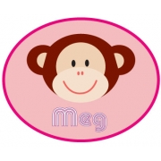 Personalised ClothingMonkey Pink DesignAvailable in a t-shirt, bib, bodysuit, singlet, apron, santa sack, library bag & shoulder bag