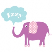Personalised ClothingElephant Purple DesignAvailable in a t-shirt, bib, bodysuit, singlet, apron, santa sack, library bag & shoulder bag