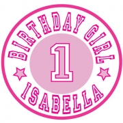 Personalised ClothingBirthday Number Pink Design (adapted to any age)Available in a t-shirt, bib, bodysuit, singlet, apron, santa sack, library bag & shoulder bag