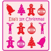 Personalised ClothingFirst Christmas Girl DesignAvailable in a t-shirt, bib, bodysuit, singlet, apron, santa sack, library bag & shoulder bag
