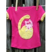 Cat Applique T shirtsizes 000 - 6