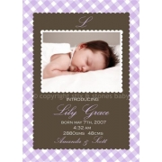 Christening Invitation 'Lilac Gingham'