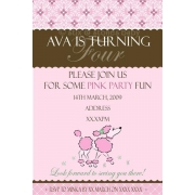 Pink Party Poodle Birthday Invitation Personalised