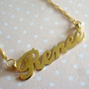 Name Necklace GOLD 14KT Typographic ScriptedCarrie Font {small or large}