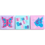 Butterfly Words Inspiration Canvas(Set of 3)