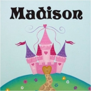 Personalised Kids Name Canvas Wall Art Canvas Name Plaque Handpainted Little Princess Castle