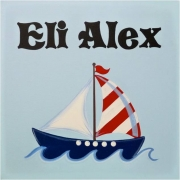 Personalised Kids Name Canvas Wall Art Canvas Name Plaque Handpainted Sailboat 2