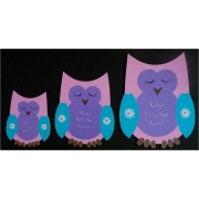 Wall Motif Set - Owls Pink & PurplePainted