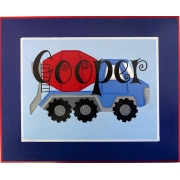Personalised Name Plaque for kids wall or door Little Cement Mixer