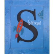 Canvas Name Plaque HandpaintedRocket