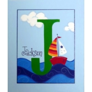 Canvas Name Plaque HandpaintedSailing