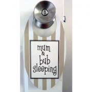 Baby Sleeping Sign - Chocolate Stripes OvalColours can be customised to suit