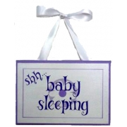 Baby Sleeping Sign - Lilac FlowerColours can be customised to suit