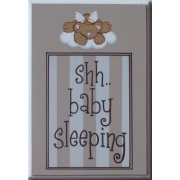 Baby Sleeping Sign - Teddy Chocolate StripesColours can be customised to suit