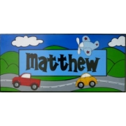 Personalised Name Plaque for kids wall or door Transport