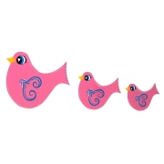 Wall Motif Set - Birdie (pink)Painted