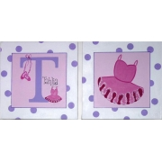 Canvas Name Plaque HandpaintedBallet (Set of 2)
