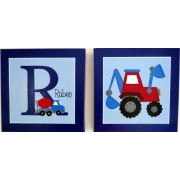 Personalised Kids Name Canvas Wall Art Canvas Name Plaque Handpainted Trucks (Set of 2)