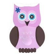 Coat Hook - Owl - Pink & Chocolate