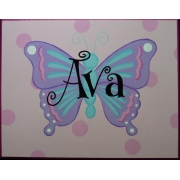 Name Plaque'Butterfly Spots Pale Pink'