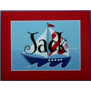 Name Plaque'Sail Boat - Red'