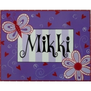 Name Plaque'Butterfly Purple/Red'